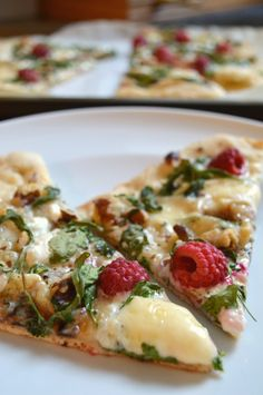 Raspberry, brie and goat cheese pizza