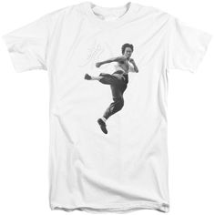 BRUCE LEE/FLYING KICK-S/S ADULT TALL-WHITE