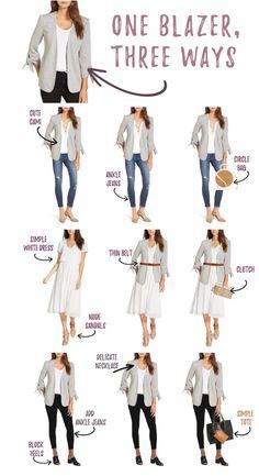 Blazer, Three Ways Blazer Outfits Casual, Blazer Outfits For Women, Business Casual Outfits, Blazers For Women, Stylish Outfits, Workwear Fashion, Fashion Capsule, Blazer Fashion, Fashion Outfits