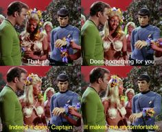 Kirk and Spock accessorize. From The Apple (Star Trek)