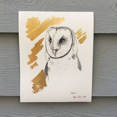 "A study of owls observed at the Cape Fear Raptor Center.  Highlighted and  accented with gold leaf.  8 x 10"", hand gilded with gold leaf, and signed by artist, Sullivan Anlyan."
