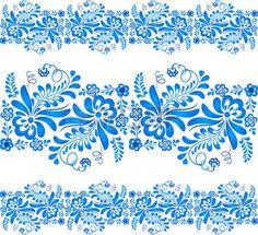 estampado de flores azul en el estilo ruso Gzhel foto