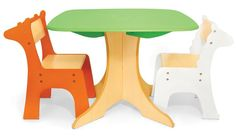 With a playful modern design, this tree table and matching zebra and giraffe chairs ($189) from P'kolino are ready for lots of creative play.