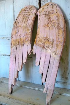 Pink shabby chic wings wood wall sculpture