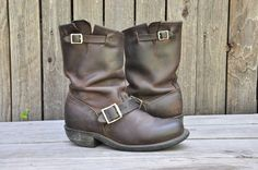 Frye veronica slouch motorcycle moto boots, shoes dark brown distressed 6 1/2 #Frye #Motorcycle #any