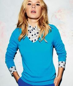 I just got Lauren Conrad's black and white polka dot denim- now I need a colorful v-neck sweater to layer it with!