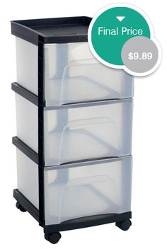 Three Drawer Black Storage Cart, Under $10 At Kmart!