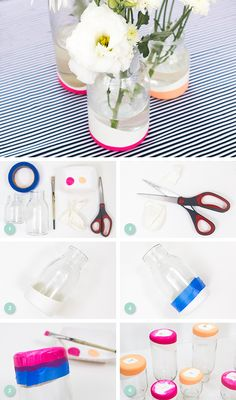 Learn how to transform basic jars into paint dipped looking vases using balloons and paint. You can easily remove the balloons and replace them with different colored ones for your next party.