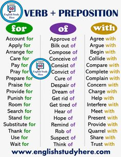 Verb + Preposition List For, Of, With - English Study Here English Grammar Rules, Teaching English Grammar, English Writing Skills, English Vocabulary Words, Learn English Words, English Language Learning, English Study, About English Language, English Prepositions