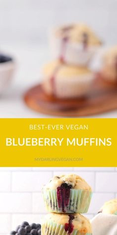 The perfect vegan blueberry muffins! These muffins are soft, sweet, perfectly moist, and filled with fresh blueberries in every bite. Made with a hint of lemon to take these muffins to the next level. Vegan Blueberry Muffins, Blue Berry Muffins, Eggless Desserts, Vegan Desserts, Plant Based Breakfast, Best Breakfast, High Protein Muffins, Make Ahead Oatmeal, Vegan Breakfast Smoothie
