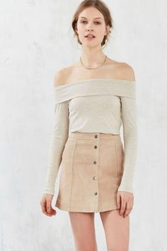Bardot Suede Button-Front Mini Skirt - Urban Outfitters
