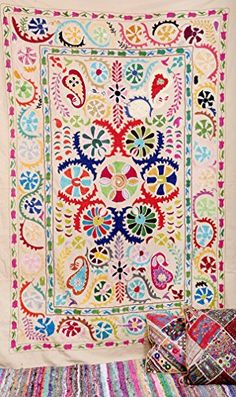 Handmade Suzani Wall Hanging , Suzani Throw , Suzani Tapestry , Suzani Bedspread , Twin Suzani Blanket Fabric Quilt , Indian Suzani Bedding Labhanshi http://www.amazon.com/dp/B00VCLBZLY/ref=cm_sw_r_pi_dp_frbxvb1WEB4TH