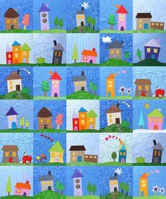 Shiny Happy Houses Quilt Pattern – Shiny Happy World House Quilt Patterns, House Quilt Block, Applique Patterns, Quilt Blocks, Quilt As You Go, Happy House, Twin Quilt, Machine Applique, Digital Pattern
