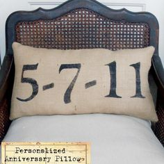 I would love to have one of these with the date of our wedding anniversary ... Remember the Day - Burlap  Feed Sack Pillow - Personalize with a  special date in your life. $35.00, via Etsy.