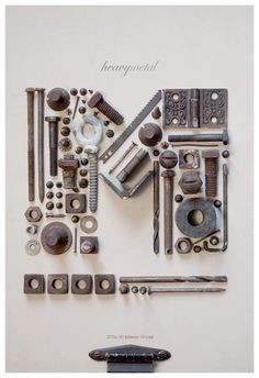 Steampunk Accessoires, Things Organized Neatly, Type Posters, Junk Art, Graphic Design Inspiration, Typography Inspiration, Inspiration Wall, Metal Art, Heavy Metal