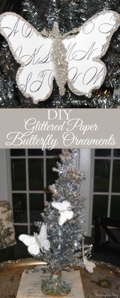 Craft Christmas Project - Glittered Paper Butterfly Ornaments - The Graphics Fairy