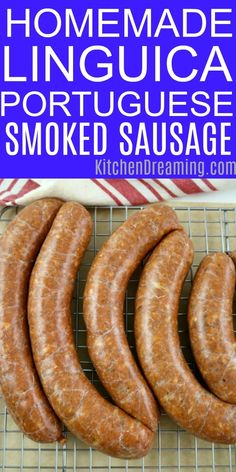 No meat grinder necessary This Homemade Linguica a Portuguese Mild Sausage is incredibly easy to make and tastes great This recipe contains No MSG Nitrates Nitrites or Hi. Linguica Recipes, Pork Recipes, Cooking Recipes, Portuguese Sausage, Portuguese Recipes, Portuguese Food, English Pork Sausage Recipe, Home Made Sausage, Sausage Making