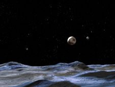 artist concept of Pluto and its moons, as viewed from one of the moons/Cracks in Pluto's Moon Could Indicate it Once Had an Underground Ocean