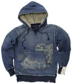 Indigo sashiko hoodie