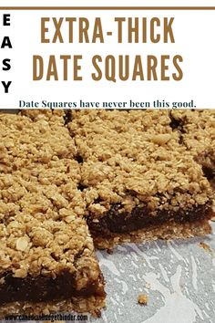 The most popular Date Squares on Pinterest are my Extra-Thick Date Squares. This is a classic date squares recipe like my mum used to make. I don't skimp on the date filling nor the oatmeal crumb base and topping for my date squares. Trust me, you'll love them. Add some orange zest, lemon zest or any other flavour you like to make this date square recipe your own.