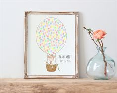 Giraffe Hot Air Balloons Fingerprint Guest Book for Baby Shower Birthday - Digital Printable Personalized Print - Kid's thumbprint guestbook by BonjourEmma on Etsy https://www.etsy.com/sg-en/listing/466232129/giraffe-hot-air-balloons-fingerprint