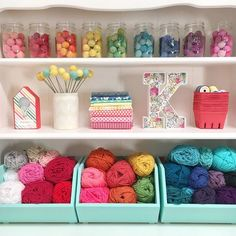 50 craft rooms - A girl and a glue gun - I love looking at craft rooms! Something about seeing what people create (and what they craft hoard - Yarn Storage, Craft Room Storage, Craft Organization, Craft Rooms, Ribbon Storage, Paper Storage, Sewing Spaces, Sewing Rooms, Color Crafts