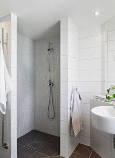 grey penny tiles inside shower