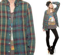 Plaid Flannel Shirt 90s Grunge Green Blue Tan Button by ShopExile