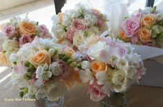coral pink flowers in may   romantic white pale pink and peach wedding bouquets white pale pink ...
