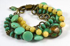 Four Strand Chunky Turquoise and Creamy Jade by RueRueOriginals, $49.00