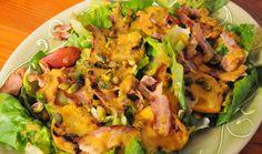 Peachy Summer Salad : Food : The Home Channel Parma Ham, Grilled Fruit, In The Flesh, Summer Salads, Salad Dressing, Lettuce, Serving Bowls, Crisp, Bacon