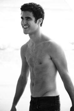 Darren Criss B&W Beach