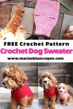 Free crochet pattern for a dog sweater - any and all sizes! This easy step by step tutorial will help you crochet a dog sweater in any size you need! Whip one up for all your dog friends big and small! Crochet Dog Sweater Free Pattern, Crochet Dog Patterns, Knit Dog Sweater, Sweater Patterns, Crochet Ideas, Crochet Designs, Knitting Patterns, Crochet Gratis, Free Crochet