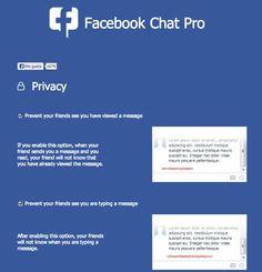 """Facebook Chat Pro - Impedire agli Amici di vedere """"Visualizzato"""" e """"Sta Scrivendo"""""""