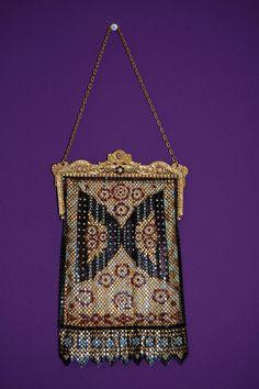 1920s vintage Enameled Mandalian Metal Mesh Bag by Petrune on Etsy,