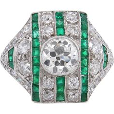 Art Deco 3.31ct Old European Diamond Emerald Wedding Anniversary Platinum Ring EGL USA, Available for $12,900.00 on RubyLane.com.