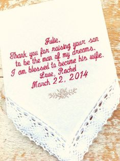 Embroidered Wedding Handkerchief Monogrammed poem Mother in Law from BRIDE personalized hankie gift embroidery MIL Wedding Groom, Our Wedding, Wedding Gifts, Wedding Shit, Wedding Ceremony, Dream Wedding, Maui Weddings, Hawaii Wedding, August Wedding