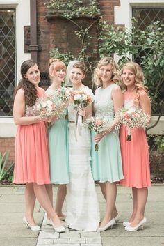 Peach and Mint Wedding bridesmaid dresses, sheath bridal dresses, flowers wedding decor, vibrant March Wedding www.dreamyweddingideas.com