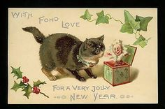 New Year Postcard Cat kitten w/ Jack in Box toy holly Vintage embossed. Dorothy Travers Pope.