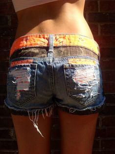 Camo and Orange Studded Cutoff Denim Shorts. by DesignedByTwo