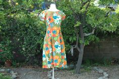 Vintage Green and Orange Flower Print Classic by annieOHvintage