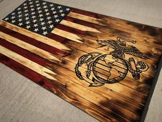 Your place to buy and sell all things handmade American Flag Art, Wooden American Flag, Marine Flag, Marine Corps, Marines Logo, Wood Flag, Pallet Flag, Wood Burning Crafts, Wood Crafts