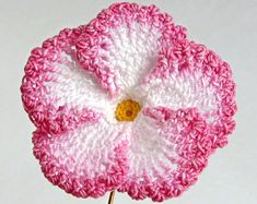 Crochet Flower PATTERN PDF, Hibiscus Photo Tutorial for Brooches and Appliques Crochet Flower Pin Hibiscus Brooch Hand Dyed Fiber Art Womens Unique Crochet, Love Crochet, Crochet Gifts, Diy Crochet, Irish Crochet, Crochet Ideas, Beautiful Crochet, Crochet Puff Flower, Crochet Flower Tutorial