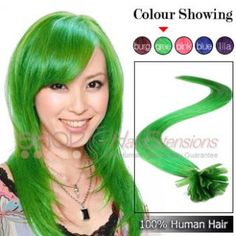 22 Inches Nail Tip Human Hair Extensions Straight Green Cheap Hair Extensions, Nail Tips, Green