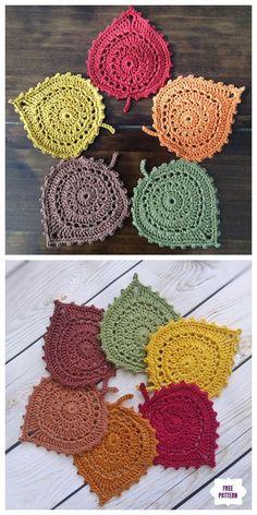Crochet Leaf Coaster Free Crochet Patterns and Tutorials, # Patterns ., Crochet Leaf Coaster Free Crochet Patterns and Tutorials, # Patterns …, Crochet Leaves, Crochet Fall, Crochet Home, Knit Or Crochet, Crochet Motif, Crochet Designs, Crochet Crafts, Crochet Doilies, Crochet Flowers