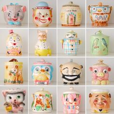 Great collection of kitschy vintage cookie jars Vintage Pottery, Vintage Ceramic, Mccoy Pottery, Ceramic Pottery, Vintage Love, Vintage Decor, Vintage Stuff, Vintage Jars, Vintage China