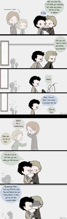 Day 20: Dancing (Destiel and Sabriel) by *Nile-kun on deviantART <----This made my day.