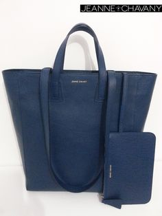 Jeanne.Chavany Tote Signature Deep Blue Buffalo. Discretly branded  With Gold plated hardware fastening Soft leather lining  Internal slide pocket & removable zip fastening pocket Comes with branded dust bag  Handcrafted in FRANCE