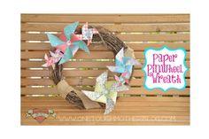 Use paper pinwheels to create a fun summer wreath!