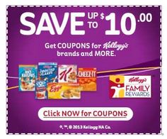 Get access to exclusive coupons when you join the Kelloggs Family rewards!